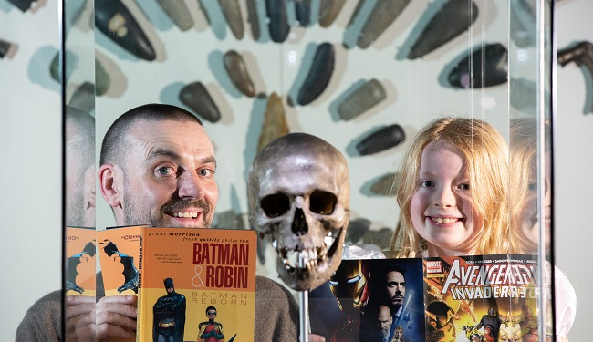 Frank Quitely and Anna Smeaton, 7, for Comics Night at the Museum