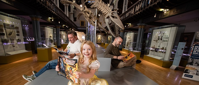 Professor Laurence Grove, Anna Smeaton, 7, and Frank Quitely for Comics Night at the Museum
