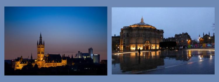 Split image of the University of Glasgow Main Building and Library and University of Edinburgh Mcewan Hall
