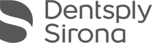 The Dentsply logo. The name Dentsply Sirona in dark gray to the right of a symbol in dark gray which suggests an S form by inverting it ie the S itself is blank and the whitespace within the letter is filled in.