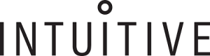 The Intuitive logo. The name intuitive in grey with a circle above the middle i
