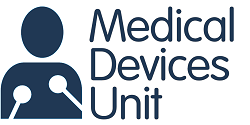 The logo of the Medical Devices Unit in NHS Greater Glasgow and Clyde. The name Medical Devices Unit in navy blue to the right of a stylised image of a person's head and torso with crutches under their arms