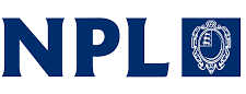 The logo of the National Physical Laboratory; the letters NPL in dark blue to the left of a coat of arms comprising a decorated shield with three lions in the top left quarter, outlined in white on the same dark blue background.