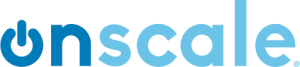 OnScale logo; the name OnScale with On in dark blue and the O resembling an on-switch, and Scale in a lighter blue, on white