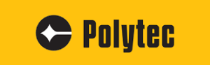 Polytec logo; the name Polytec in black, preceded by a black circle with a white laser emission image, all on a yellow background