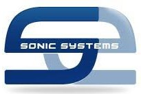 The Sonic Systems logo; a dark blue S in top of a backwards light blue S with the words Sonic Systems in white across the middle.