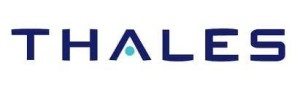 Thales logo; the name Thales in dark blue with a light blue accent on the bar in A, on white