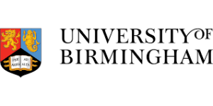 The University of Birmingham logo. A shield from the university arms comprising three sections. Top left is a two-headed golden lion rampant on a red field. Top right is a golden mermaid on a blue field. At the bottom is an open book on a black field, with the latin phrase Per Ardua Ad Alta