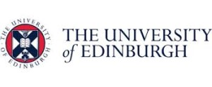 The University of Edinburgh logo; the words University of Edinburgh in blue to the left of the university arms, a pink circle with a white shield inside. On the shield is a blue saltire, surmounted top to bottom by a thistle, a book, and a crenellated tower