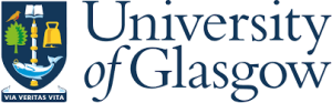The University of Glasgow logo; University of Glasgow in blue to the right of the coat of arms. A blue shield, surmounted on the left a red-breasted bird on a green leafed tree, to the right a golden bell, in the middle an open book at the top, a staff in the middle, and salmon with a ring in its mouth at the bottom. Underneath the shield is a blue banner with white latin motto Via Veritas Vita