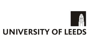 University of Leeds logo; the name in black with a black square over the word Leeds, with a white representation of the tower on the university's Parkinson building