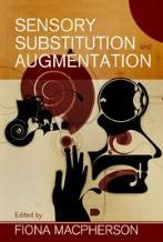 book cover: black and white schematics regardig senses (a head with nose, eyes and tongue labeled, a hand etc) with title on yellow translucent background reading Sensory Substitution and Augmentation book cover