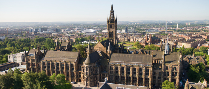 The University with the city of Glasgow in the background
