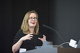 Photo of Professor Lorna Hughes delivering a presentation