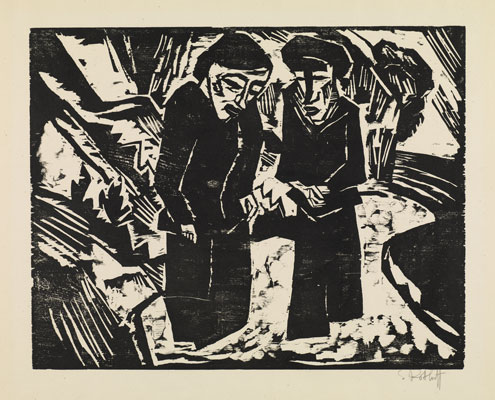 Karl Schmidt-Rottluff, Trauernde am Strand (Mounring women on the shore), 1914  © DACS 2019.
