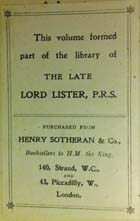 Sotheran bookplate from Lister Library