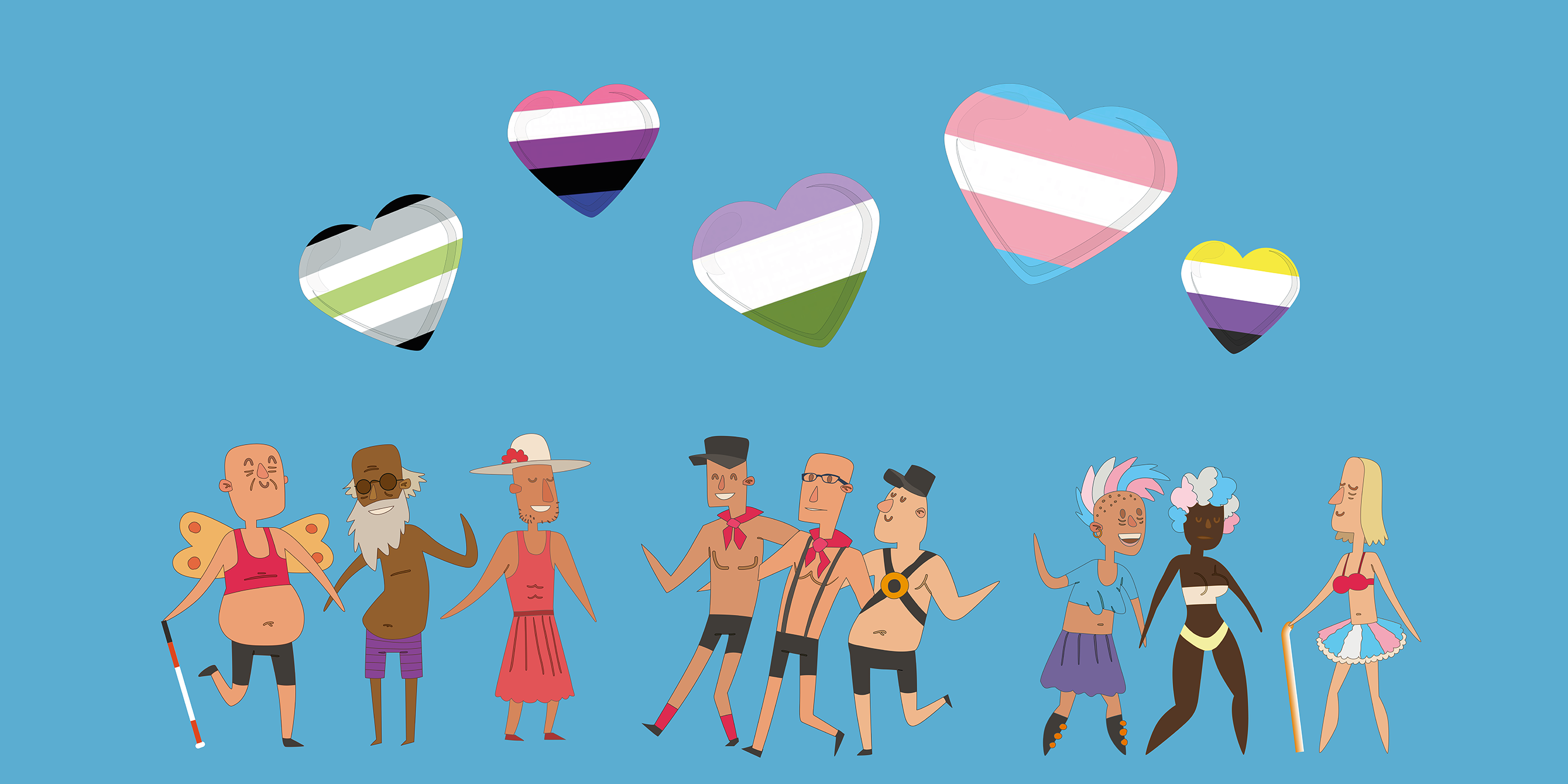 A group of nine trans and non-binary people with a range of gender presentations. The characters have various skin tones. Some are wearing glasses and one is holding a long cane. Some are smiling and others have a more neutral facial expression. There are five heart shapes above the people. The hearts have the colours of the a gender, gender fluid, non-binary, transgender and genderqueer flags.