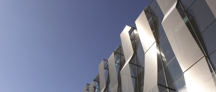 Image of the top of the Imaging Centre of Excellence (ICE) building