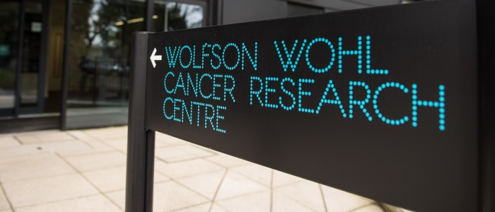 Image of the entrance to the Wolfson Wohl Cancer Research Centre