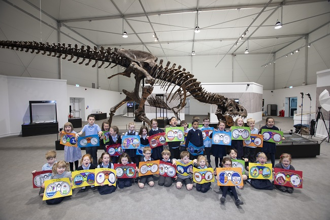 Broomhill Primary with Trix the T.rex at the official opening for the T.rex in Town exhibition at Kelvin Hall