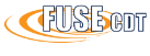 The logo for the Centre for Doctoral Training in Future Ultrasonic Engineering. The acronym FUSE CDT over the words Future Ultrasonic Engineering in white over orange swooshes.