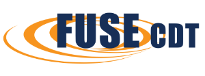 Logo for the Centre for Doctoral Training in Future Ultrasonic Engineering. The acronym FUSE CDT in dark blue over orange swooshes.