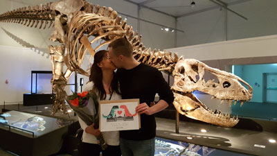 Marriage proposal in front of T rex