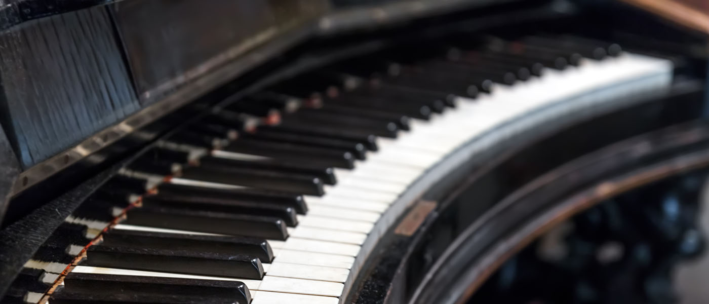 A vintage piano keyboard