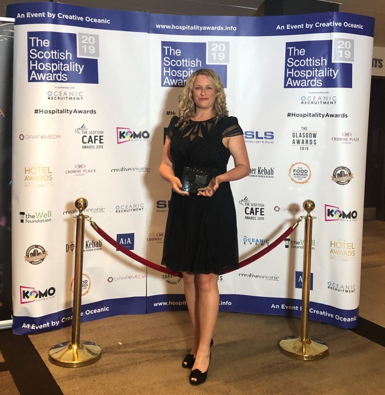 Deborah McNeill collecting Best Scottish Festival Award 2019 for Glasgow Science Festival