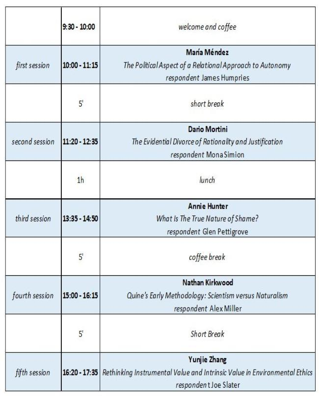 event timetable - see speakers above