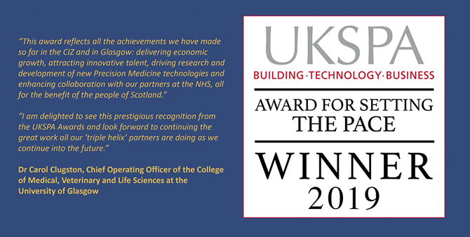 Image of the UKSPA 2019 winner logo with quote from Dr Carol Clugston