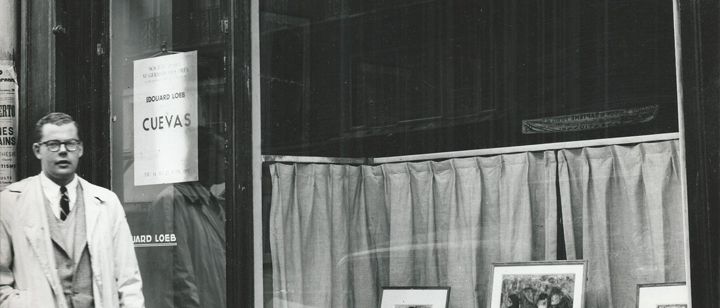 Phillip Bruno in 1955, outside the Loeb Gallery, Paris, where he organised an exhibition for the Mexican artists José Luis Cuevas, an artist represented in the Phillip A. Bruno collection.