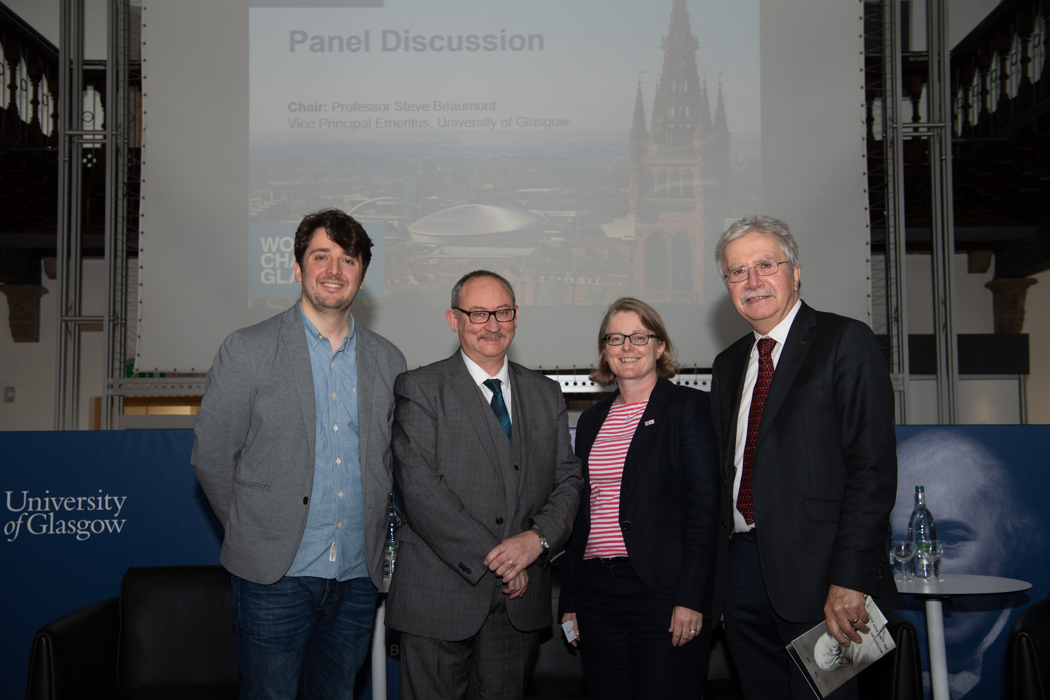 Dr Marin Lavery, Hugh Gill, Catherine Mealing-Jones and Professor Steve Beaumont at the James Watt Symposium.