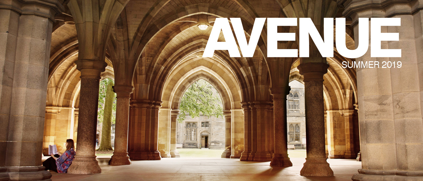 Avenue magazine masthead. Student sat reading in the University cloisters.