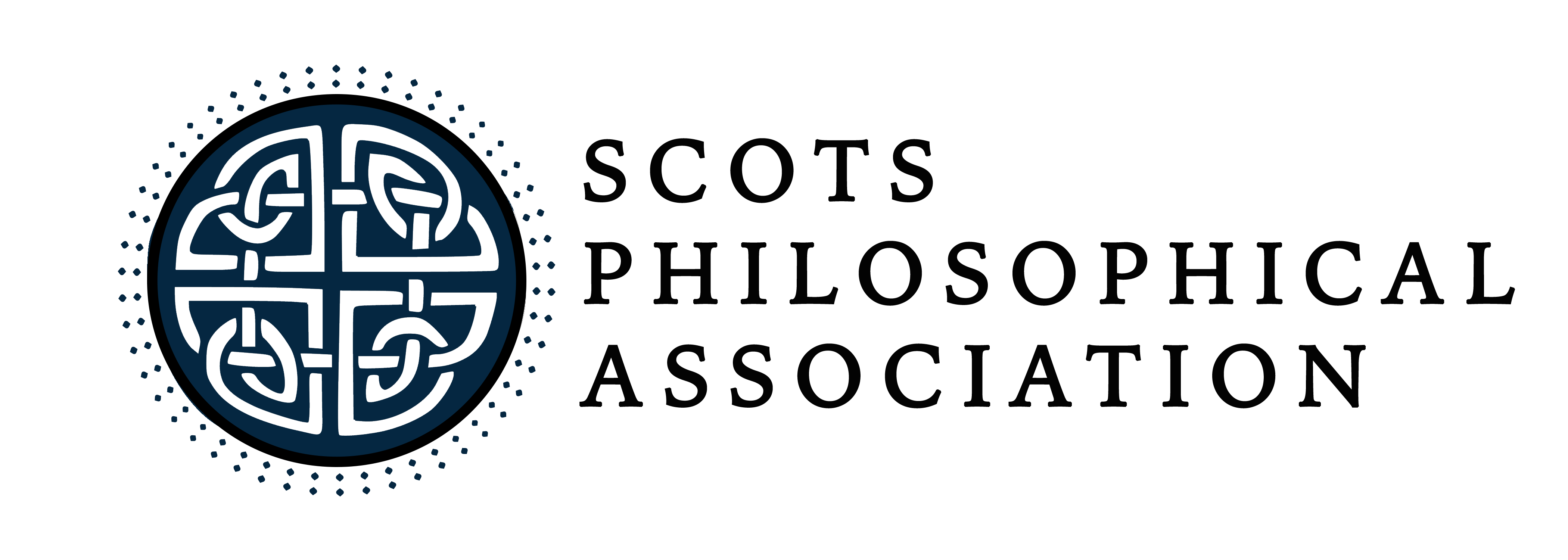 Logo: a round green seal with a complex white celtic knot, accompanied by text that reads 'Scots philosophical association'