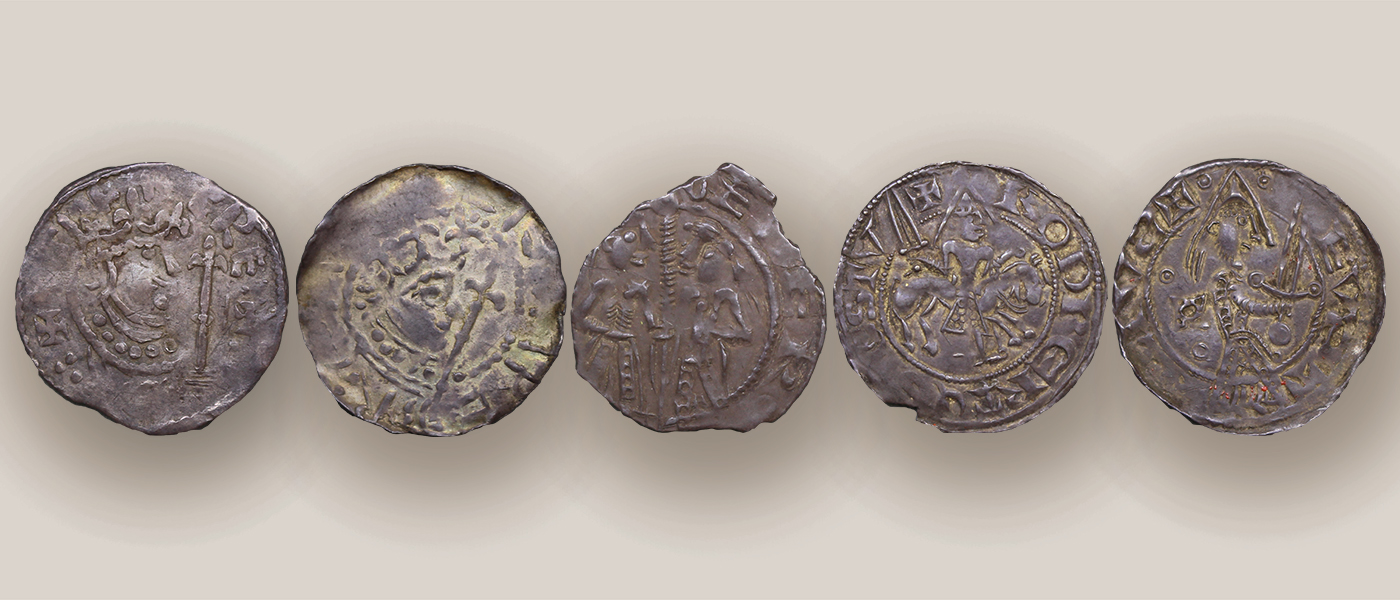 Five silver pennies of the Anarchy in England, on display at the Hunterian Museum in Glasgow