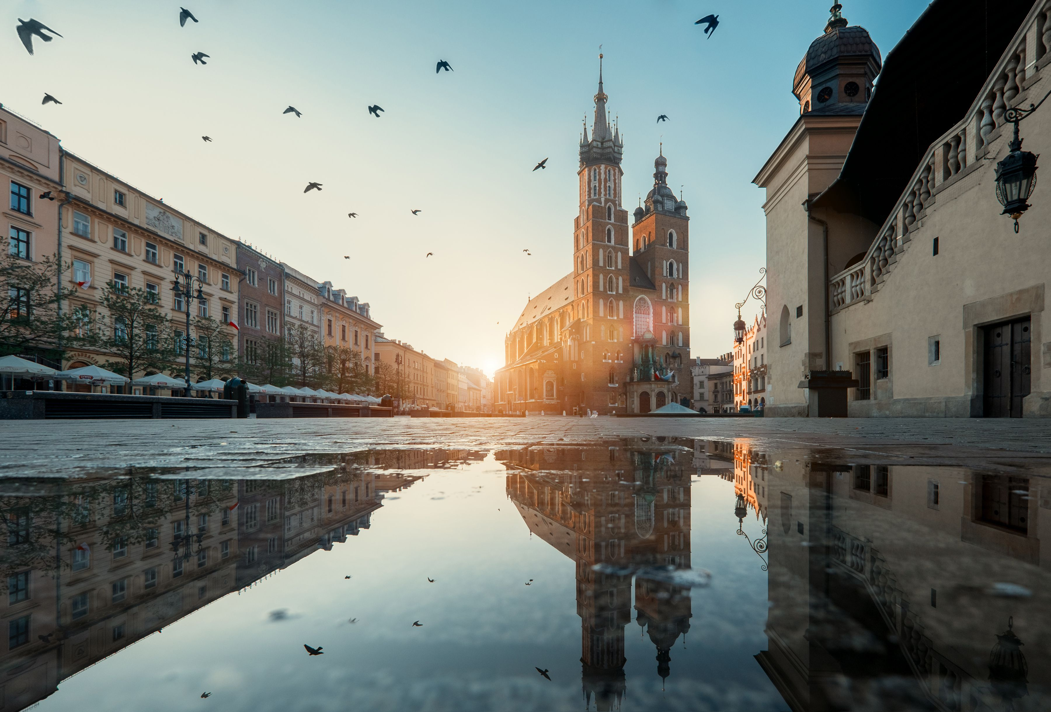 Market square and St. Mary's Basilica in Krakow, Poland