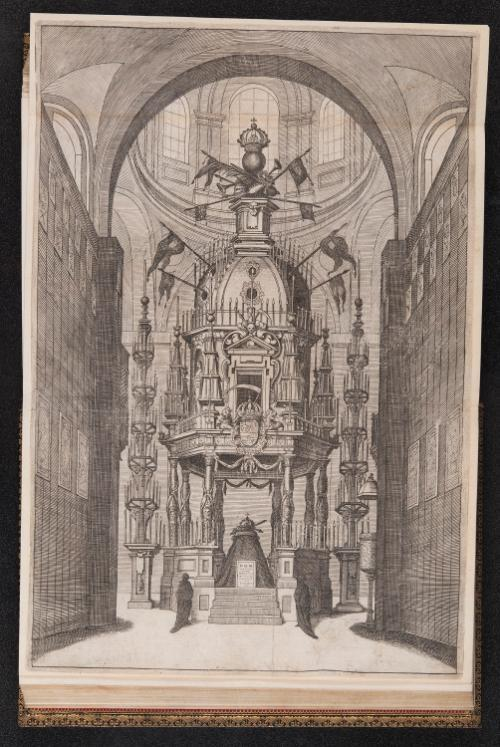 Fig. 3 Funerary Catafalque of King Philip IV. Designed by Sebastián Herrera Barneuvo. Engraving by Pedro de Villafranca, in Pedro Rodriguez de Monforte, Descripcion de las honras que se hicieron [a] D. Phelippe quarto Rey […] en el Real Conuento de la Encarnacion (Madrid: Francisco Nieto, 1666), folding plate between fols 71–72. University of Glasgow Library, Special Collections, S.M. 1455.