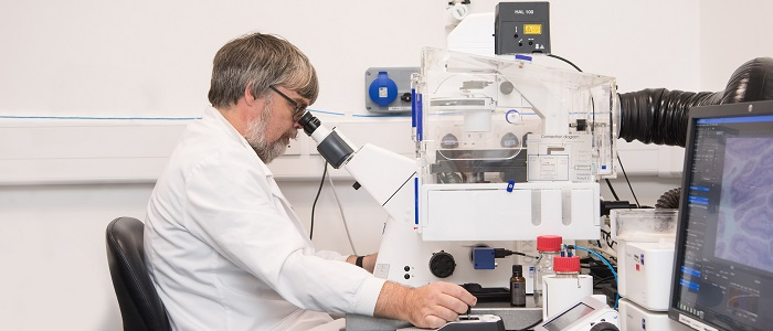 Researcher using a microscope in the laboratory