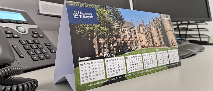 An image of a University of Glasgow desk calendar