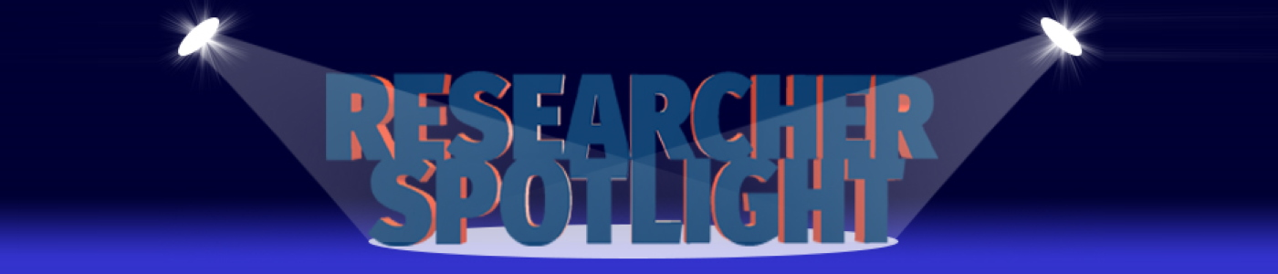 a graphical image of the words researcher spotlight with two spotlights either side