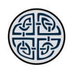 Logo: a round light-grey seal with a complex dark blue celtic knot