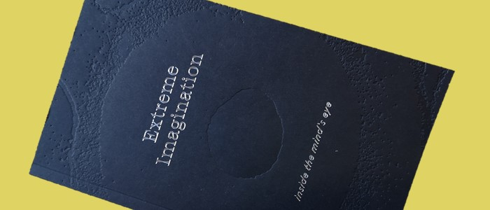 photo of a Black book on a yellow background with the title extreme imagination: inside the minds eye on a yellow background