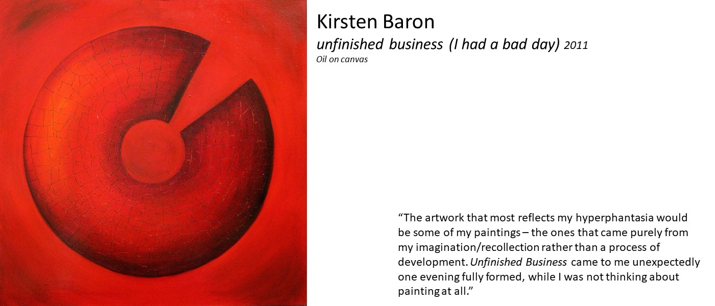 Artwork by Kirsten Baron (red and black round shape on red background) and quote 'The artwork that most reflects my hyperphantasia would be some of my paintings – the ones that came purely from my imagination/recollection rather than a process of development. Unfinished Business came to me unexpectedly one evening fully formed'