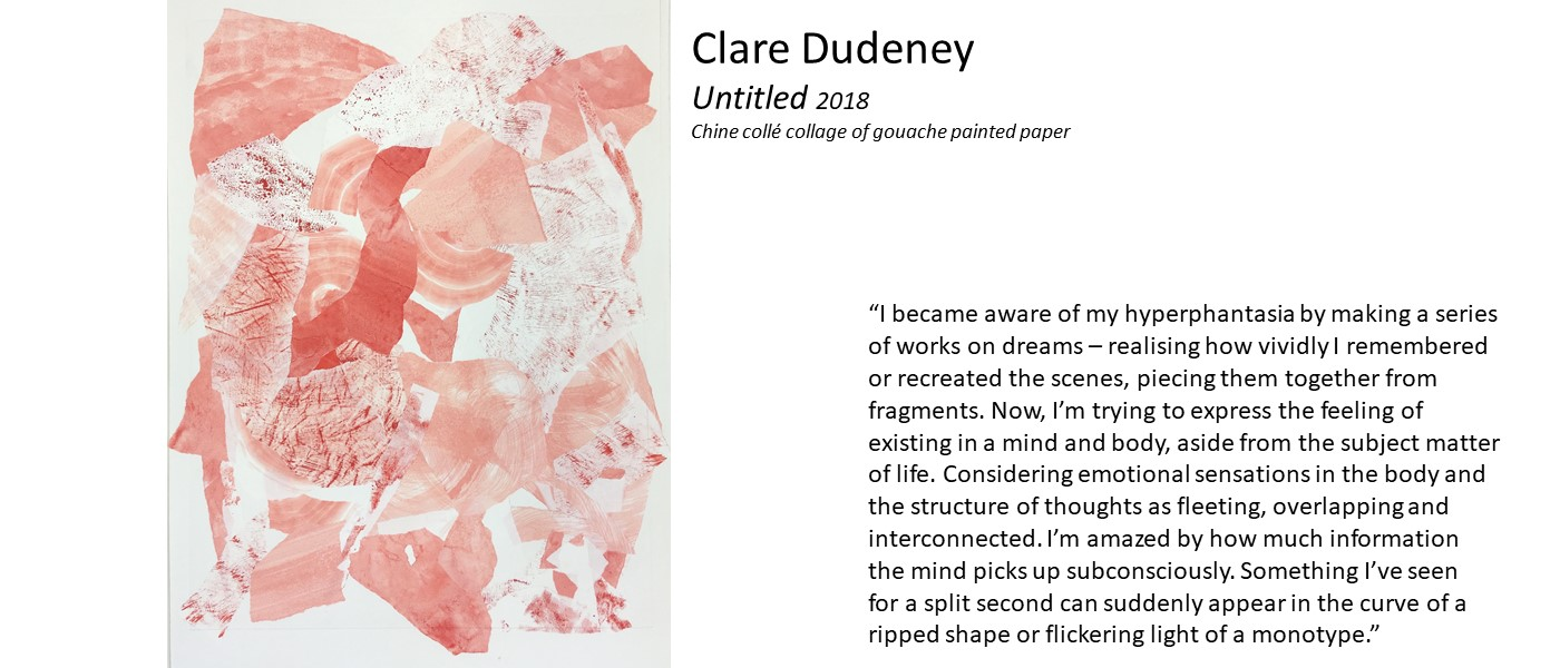 "artwork by Clare Dudeney (abstract assemblage of angular pastings of paper in different shades of pink) and quote ""I became aware of my hyperphantasia by making a series of works on dreams – realising how vividly I remembered or recreated the scenes, piecing them together from fragments. I'm trying to express the feeling of existing in a mind and body, aside from the subject matter of life'"
