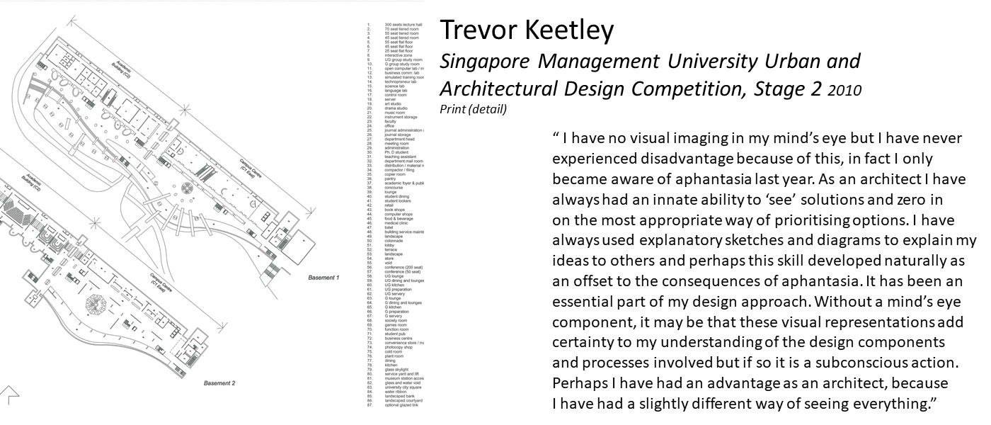 "artwork by Trevor Keetley (architectural technical drawing with legend) and quote '"" I have no visual imaging in my mind's eye but I have never experienced disadvantage because of this.. As an architect I have always had an innate ability to 'see' solutions and zero in on the most appropriate way of prioritising options. Perhaps this skill developed naturally as an offset for aphantasia'"