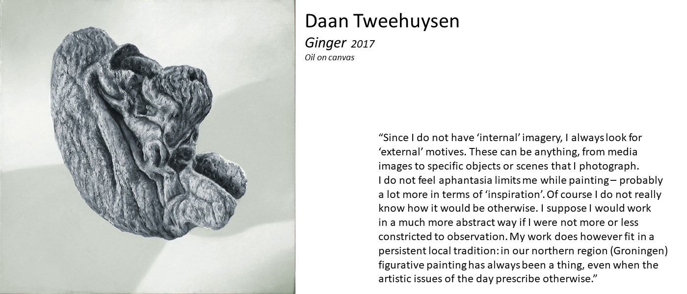 charcoal drawing by Daan Tweehuysen (abstract three-dimensional shape with a wrinkly texture, described in the caption as a ginger stem) and quote 'Since I do not have 'internal' imagery, I always look for 'external' motives. I do not feel aphantasia limits my painting – probably a lot more in terms of 'inspiration'. I would work in a much more abstract way if I were not constricted to observation