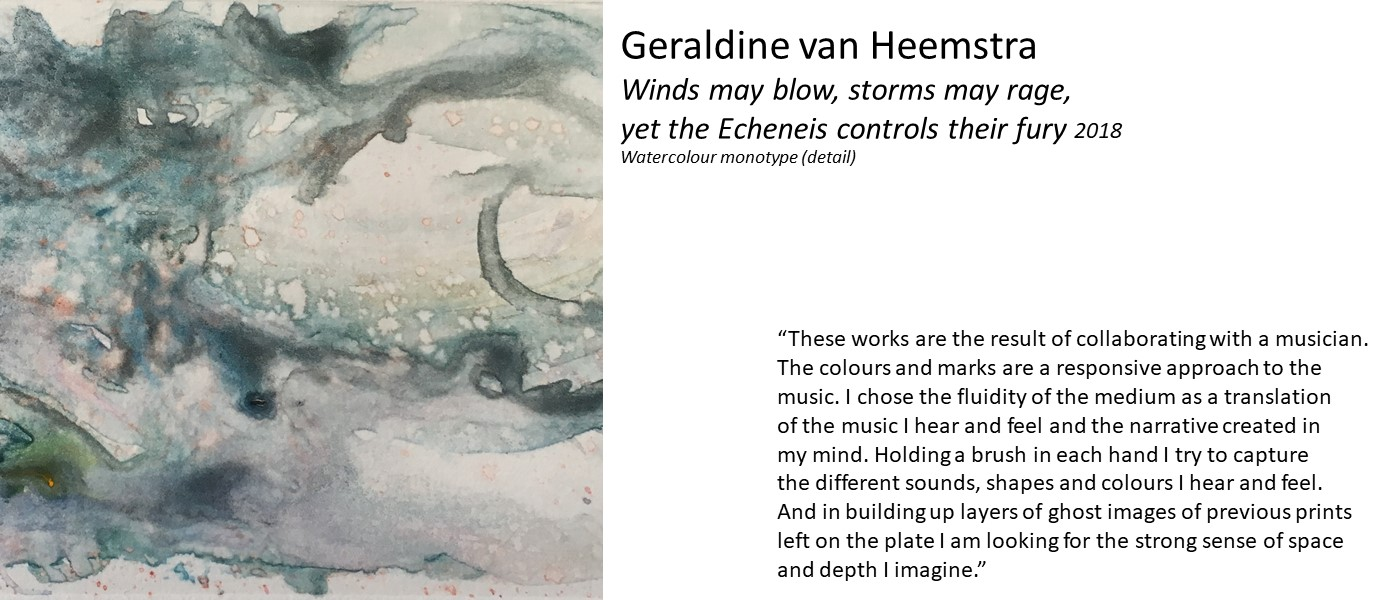 artwork by Geraldine van Heemstra (abstract flowing shape in different blues) and quote 'These works are the result of collaborating with a musician. The colours and marks are a responsive approach to the music... a translation of the music I hear and feel and the narrative created in my mind. Holding a brush in each hand I try to capture the different sounds, shapes and colours I hear and feel.