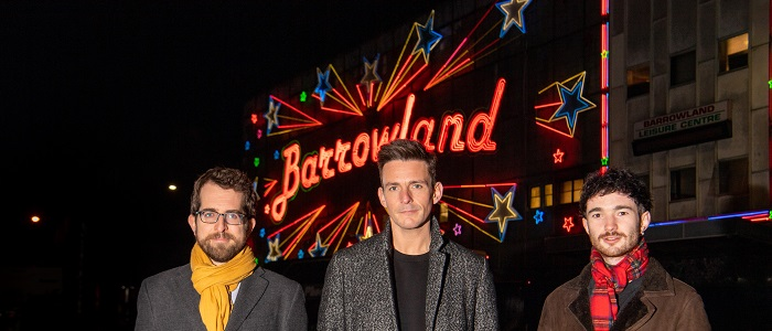 Dr Matt Brennan, a Reader in Popular Music at the University of Glasgow; Glasgow PhD student Robert Allan, also a founding and current member of the band Glasvegas and Robert Kilpatrick, General Manager of the Scottish Music Industry Association (SMIA) in front of the iconic Glasgow Barrowland Ballroom