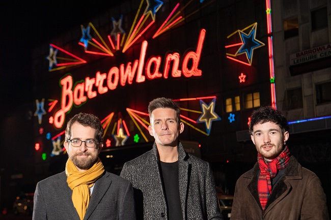Dr Matt Brennan, a Reader in Popular Music at the University of Glasgow; Glasgow PhD student Robert Allan, also a founding and current member of the band Glasvegas and Robert Kilpatrick, General Manager of the Scottish Music Industry Association (SMIA) in front of the iconic Glasgow Barrowland Ballroom music venue